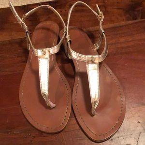 Ralph Lauren Gold Thong Sandal Size 7.5